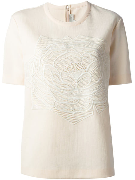 Stella McCartney Ivory Women's Natural Rose Embossed Boxy Top  Ladies