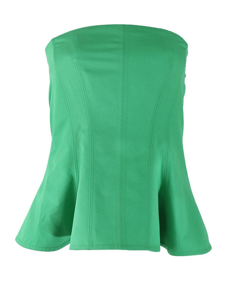 Stella McCartney Green Peplum Bustier with Seam I 42 M Medium Ladies
