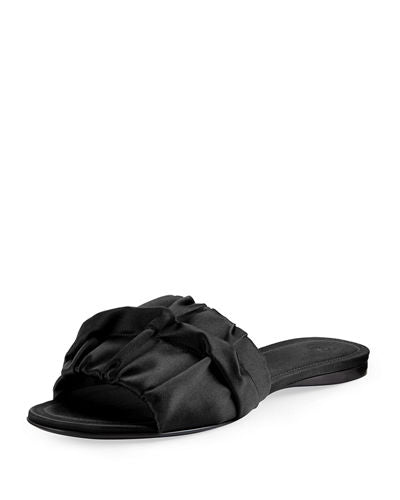 THE ROW Ellen ruched-front satin slides slippers shoes Ladies