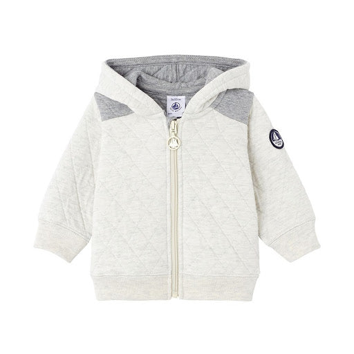 Petit Bateau BABY BOYS HOODED SWEATSHIRT IN QUILTED DOUBLE KNIT JACKET 3 MONTH children