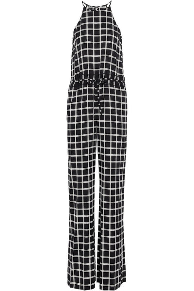 Diane von Furstenberg 2019 Davin checked silk jumpsuit Size US 4 UK 8 S Small ladies