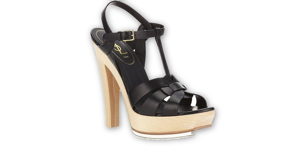 a1a1caee144 SAINT LAURENT YVES SAINT LAURENT YSL Tribute leather and wood sandals –  Afashionistastore