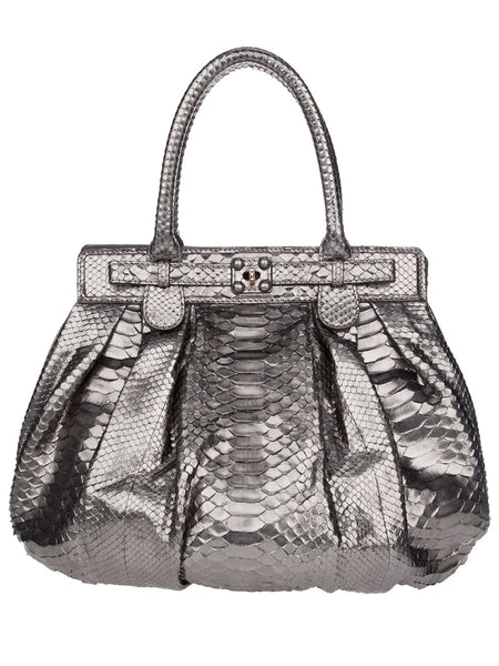 "Zagliani Silver Python Snake ""Puffy "" Handle Bag Handbag LADIES"