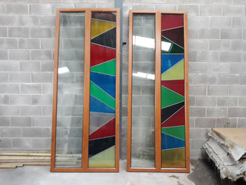 Batch Of 7 Salvaged UPVC Light Oak Coloured Windows Doors Room Dividers 10ft Tall