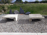 "Pair Of Reclaimed Antique Large York Stone Tables Benches 49"" x 49"" Tops"