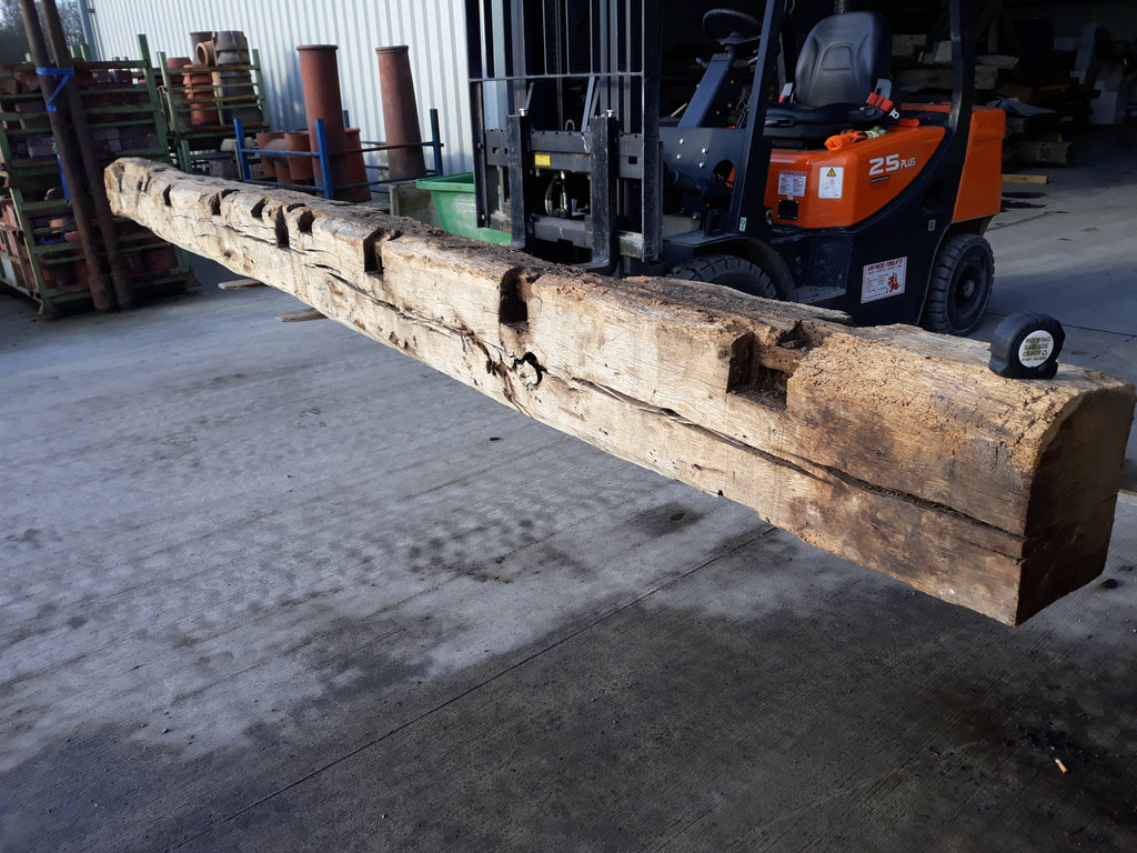 "Reclaimed English Oak Beam Post Inglenook Bessemer 15ft 10"" Long"