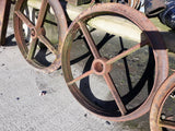 "Set Of 4 Antique Cast Iron Shepherds Hut Wheels 24"" Diameter"
