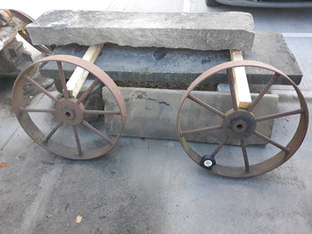 "Pair Of Antique Cast Iron Shepherds Hut Wheels 27"" Diameter"