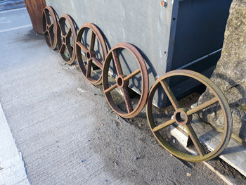 "Set Of 5 Antique Cast Iron Shepherds Hut Wheels 20"" Diameter"