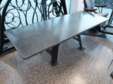 "Reclaimed Cast Iron Industrial Table With Welsh Slate Top 6ft 1"" Long"