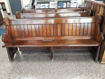 Antique Pitch Pine Solid Church Pew Bench Settle 6ft long