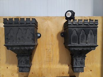 "Matching Pair Reclaimed Decorative Cast Iron Castellated Hopper Planter 18"" Tall"