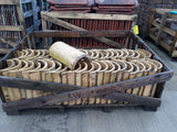 "Batch of 115 Reclaimed Buff Yellow Half Round Roofing Ridge Coping 12"" Long"