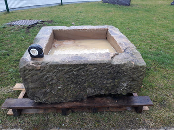 "Reclaimed Large York Stone Trough Planter 30"" Square 420Kg"