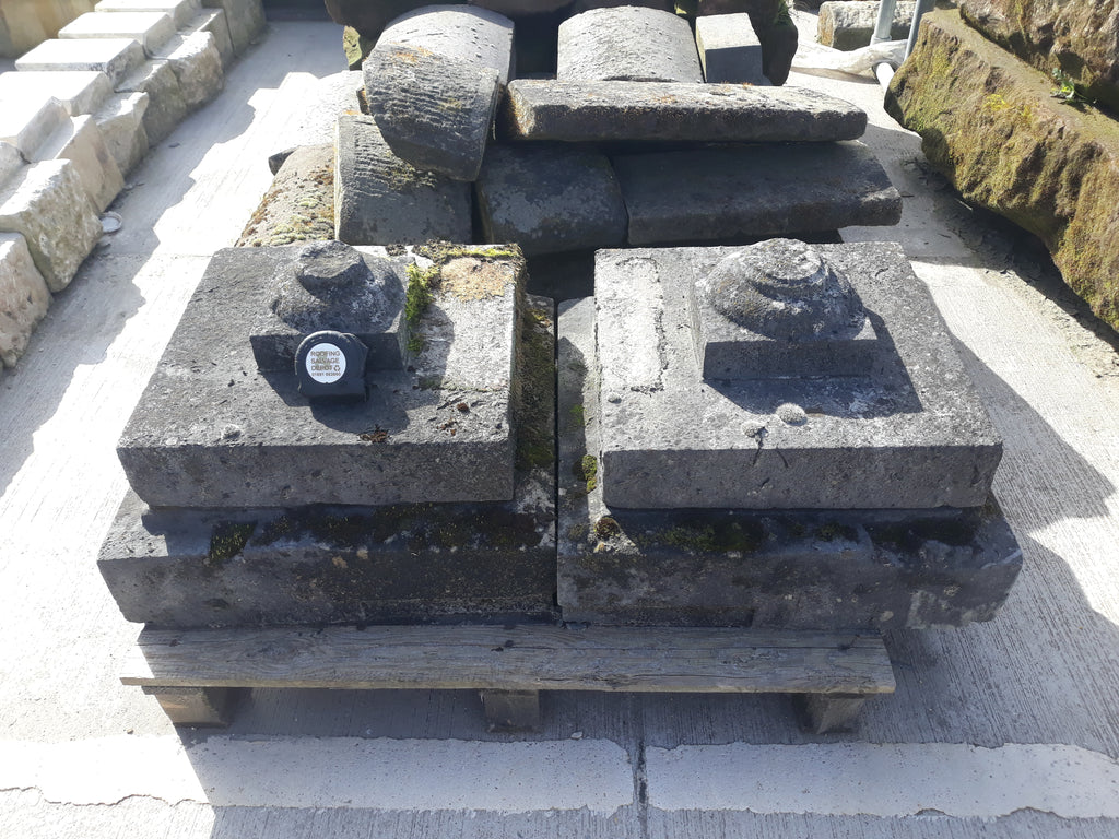 "Reclaimed Pair Lime Stone Square Tiered Pier Caps Toppers 21"" by 21"""