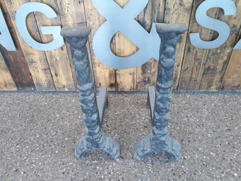 "Pair Very Large Cast Iron Fire Dogs 28"" Tall"