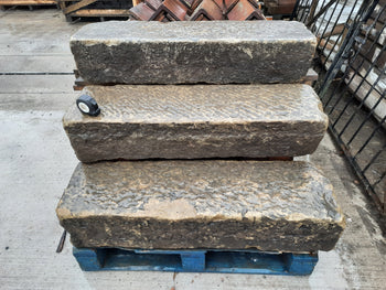 "Reclaimed Rustic Tooled York Stone Steps Threshold 42"" Long"