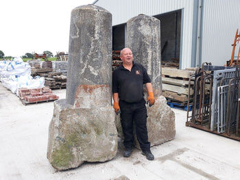 Reclaimed Matching Pair Monumental Stone Granite Gate Posts Bollards Pillars