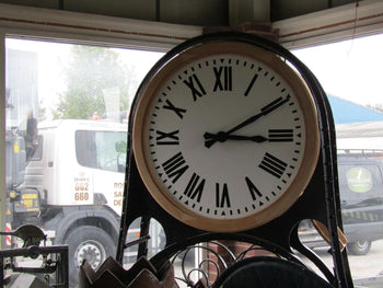 Massive Antique Victorian Wall Mounted Cast Iron Piccadilly Station Clock 8ft