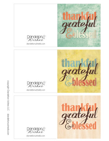 free printable thanksgiving gift card, thanksgiving gift tag, thankful grateful blessed cards
