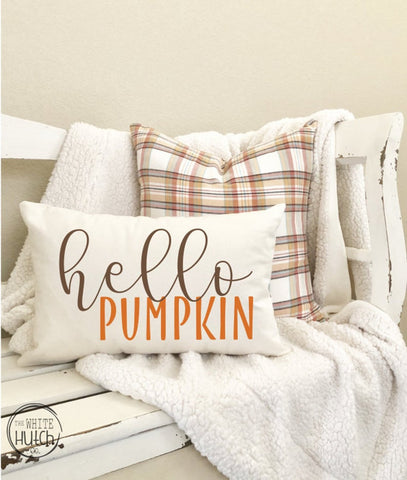 fall hello pumpkin pillow