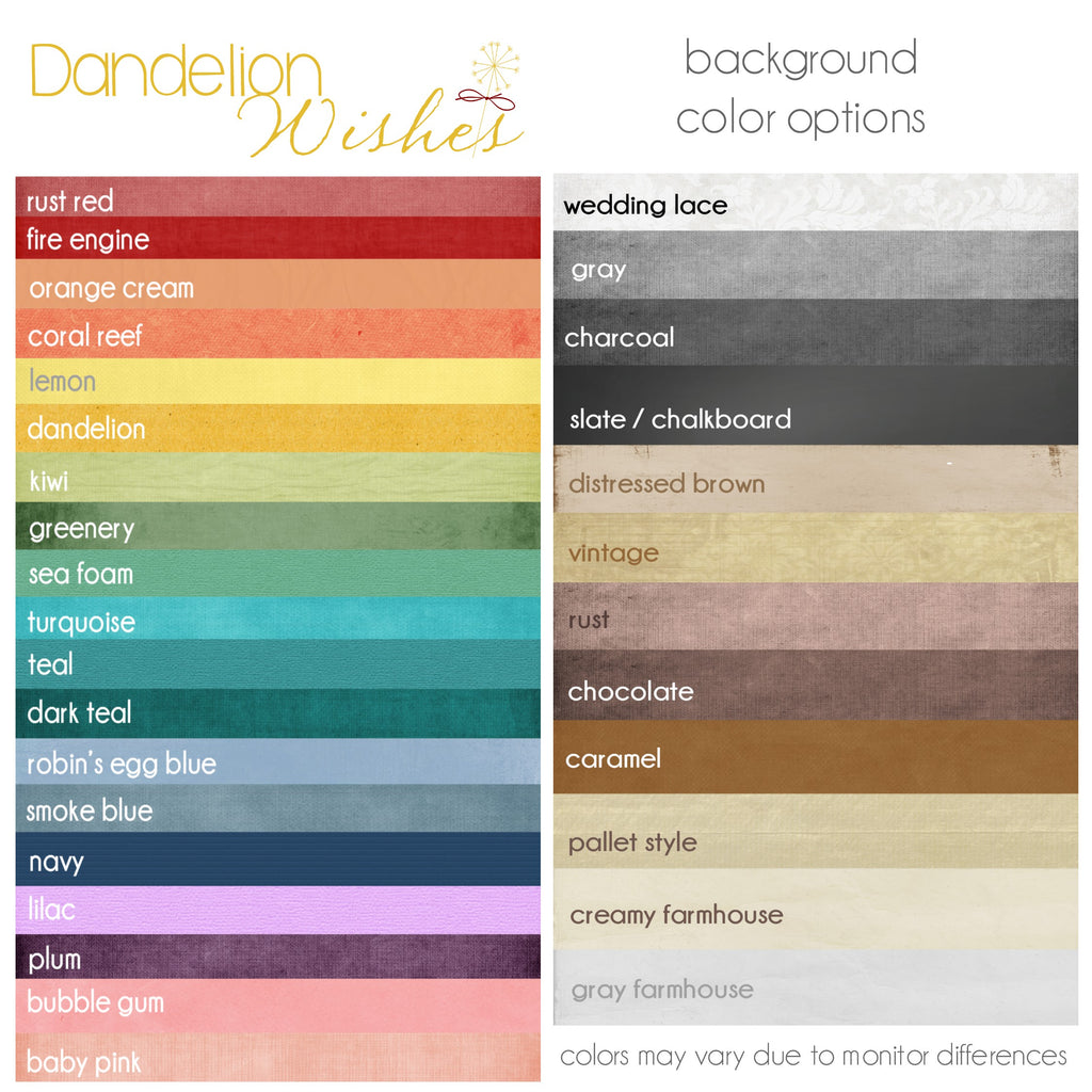 dandelion wishes color options chart
