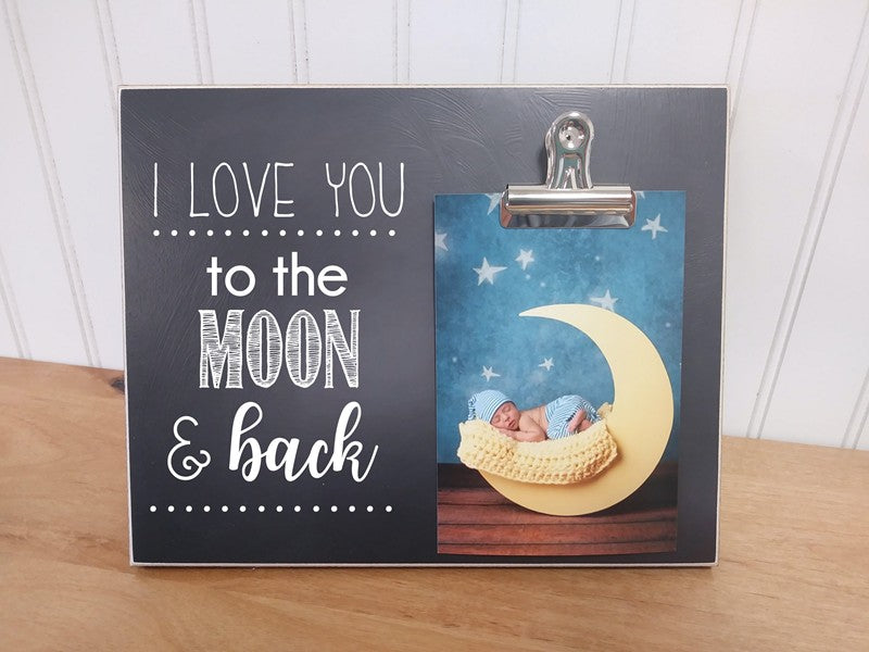 baby shower gift, personalized photo frame, i love you to the moon and back