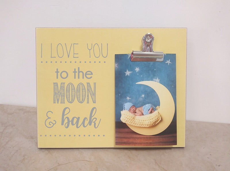 i love you to the moon and back photo frame gift for baby