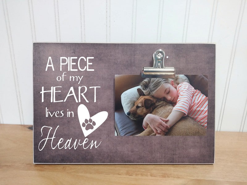 A Piece of My Heart Lives in Heaven, Pet Memorial Photo Frame