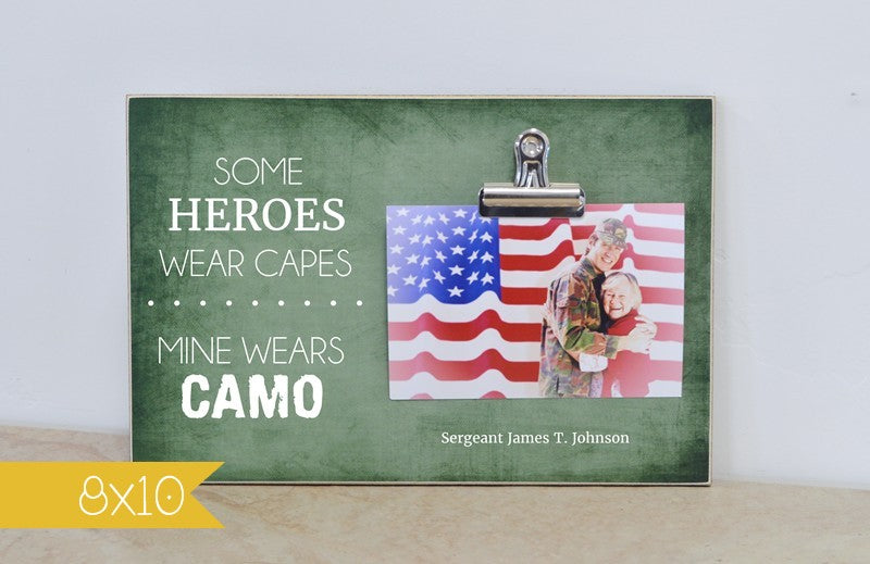 personalized gift for mom of solider, army mom gift, some heroes wear capes, mine wears camo personalized picture frame