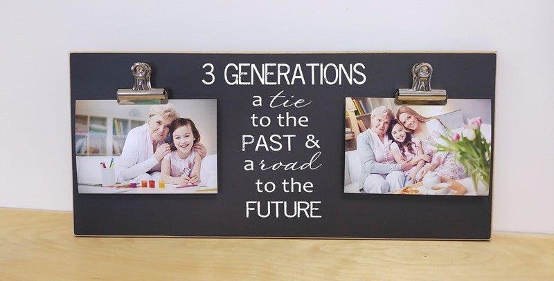 3 generations chalkboard photo frame, family gift, grandparent gift, generations gift