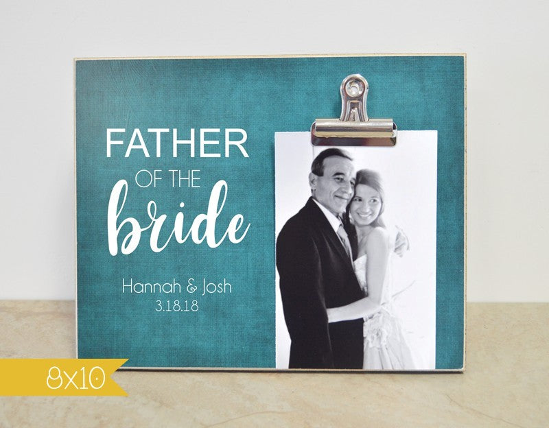 father of the bride picture frame, thank you gift, wedding gift for parents,