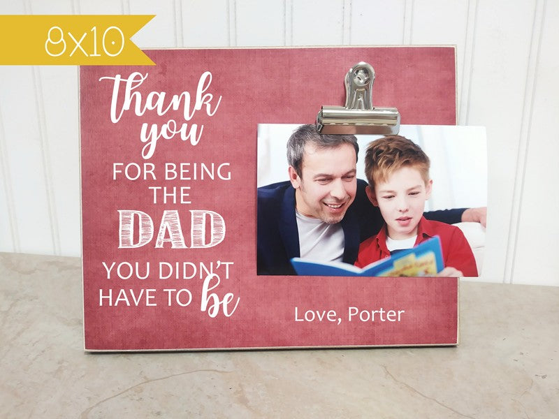 step dad photo frame, personalized with childs name, thank you gift