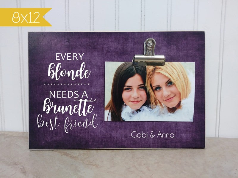 gift for best friend - brunette and blonde photo frame