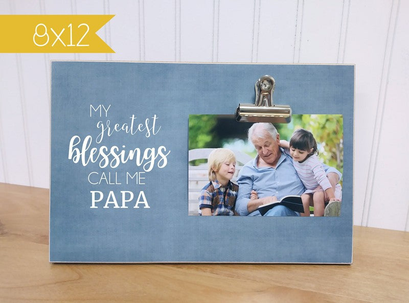 personalized fathers day gift for papa, my greatest blessings call me papa, grandpa gift