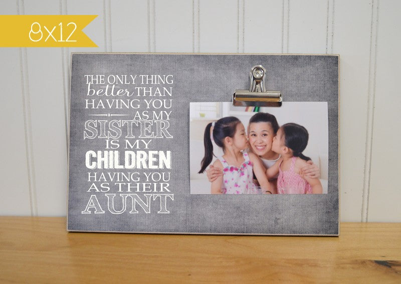 photo clip frame for sister, sisters gift, aunt gift, new auntie gift, pregnancy announcement photo frame
