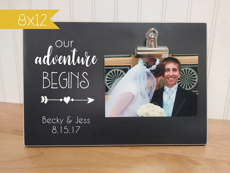 our adventure begins photo frame gift for bride and groom, wedding decor, wedding photo display