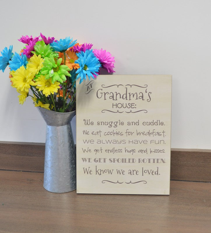 mothers day gift for grandma, at grandmas house wooden sign, personalized gift