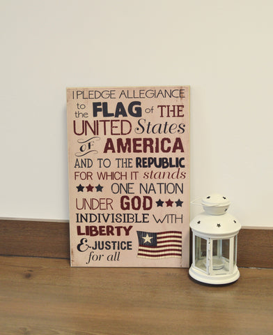 patriotic wall art, pledge of allegiance wood sign, 4th of july decoration, patriotic decoration