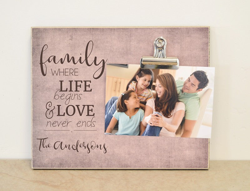 life begins and love never ends photo frame for family gift
