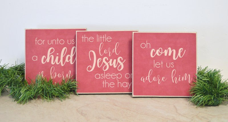 christmas signs set, wooden signs christmas decor