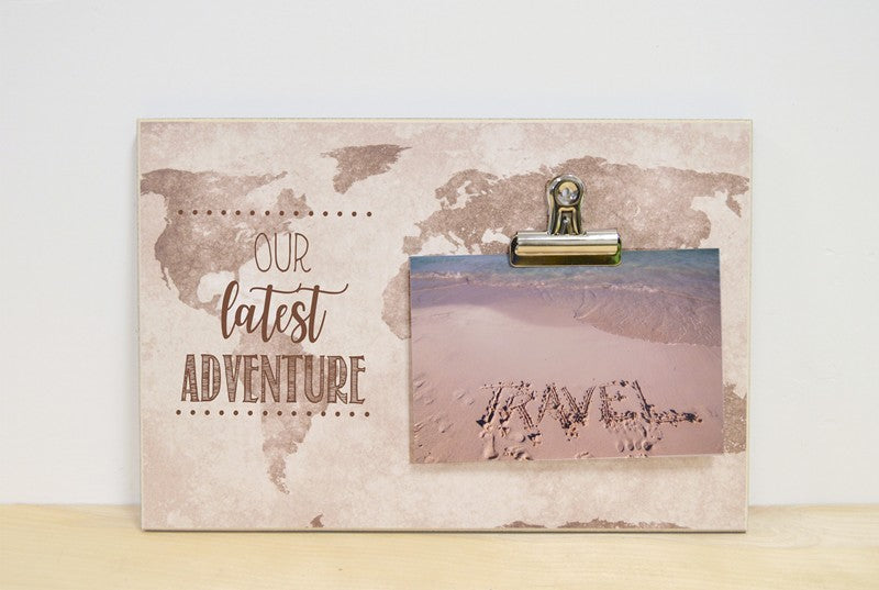 map photo frame, adventure photo frame, our latest adventure, traveler gift