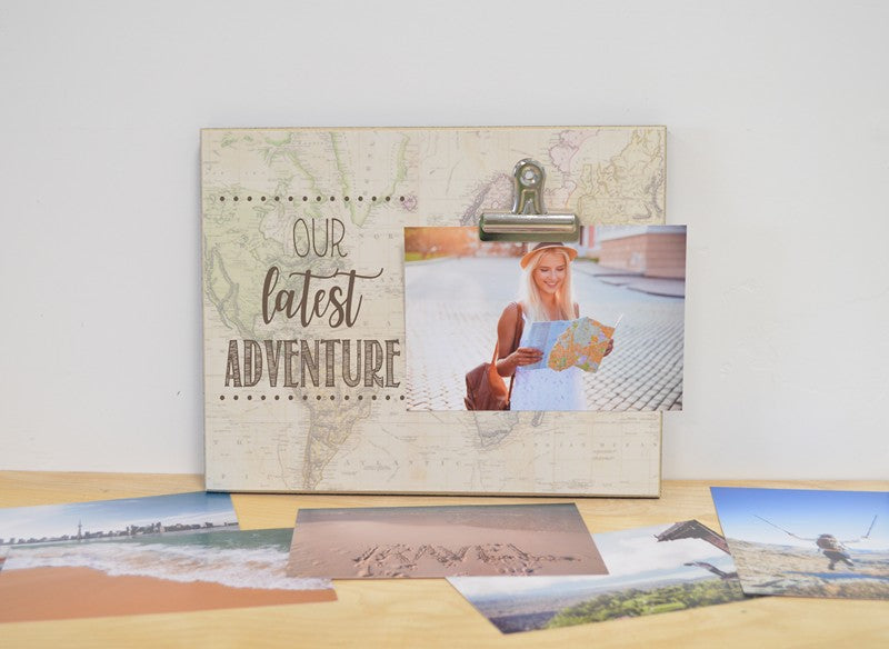 our latest adventure photo frame, traveler frame, gift for traveler, adventure photo frame, vacation gift