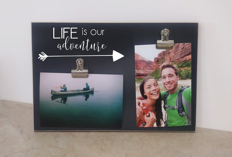 chalkboard photo frame, life is our adventure couples gift, engagement gift, wedding gift