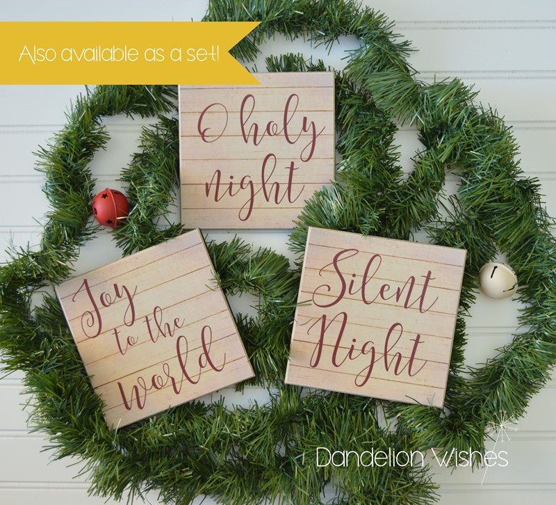 Silent Night Christmas Wooden Sign