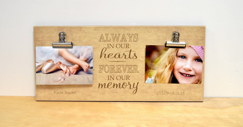 always in our hearts sympathy photo frame