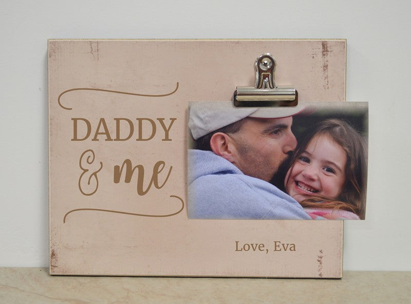 daddy and me photo clip frame, personalized fathers day gift