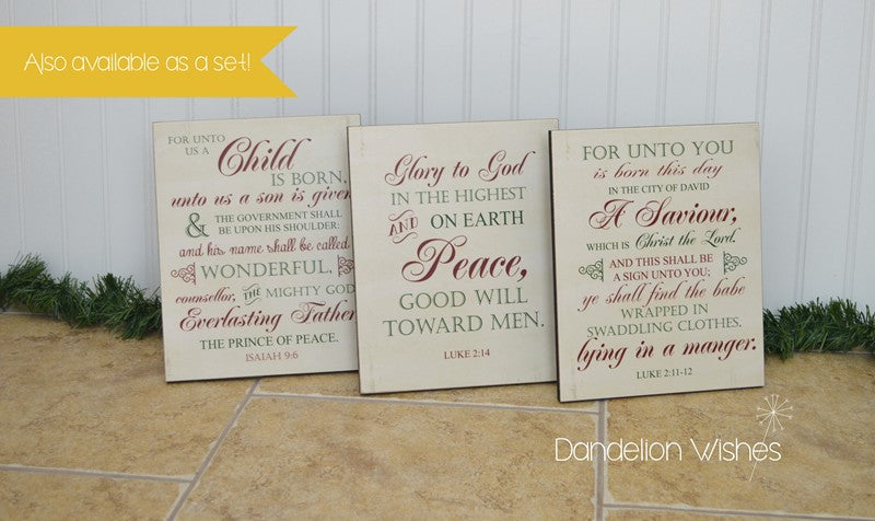 For Unto Us A Child Is Born... Christmas Decoration Sign