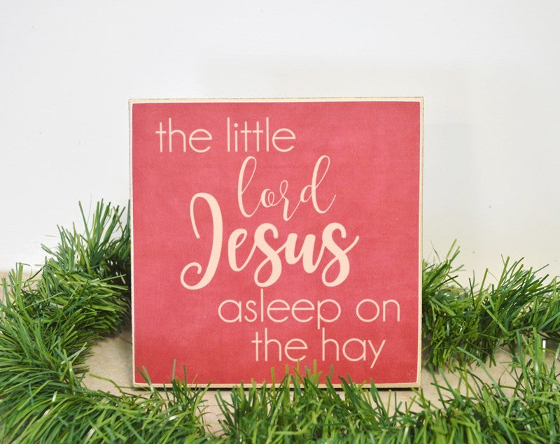 christmas wooden sign, nativity display decor, little lord jesus asleep on the hay