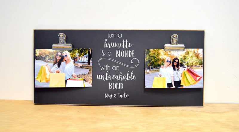 chalkboard photo frame, gift for best friend, brunette and blonde, picture frame
